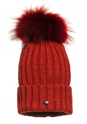 Women's beanie Goldbergh Naara Beanie (real Fur Raccoon) Red