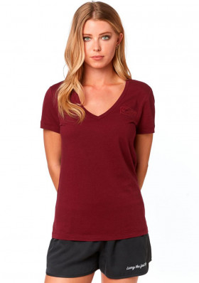 Women's T-shirt Fox Tracker Ss V Neck Tee cranberry