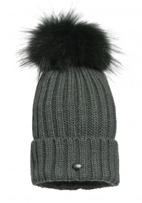Women´s beanie Goldbergh UNA beanie real raccoon fur ISLAND GREEN