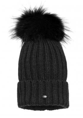 Women´s beanie Goldbergh UNA beanie real raccoon fur Black