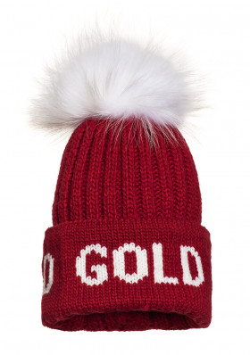 Women's beanie Goldbergh HODD beanie real raccoon fur RUBY RED