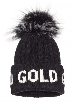 Women's beanie Goldbergh HODD beanie real raccoon fur BLACK