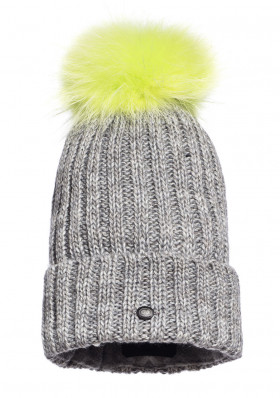 Women's beanie Goldbergh CRISTINA beanie real raccoon fur NEON YELLOW