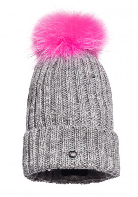 Women's beanie Goldbergh CRISTINA beanie real raccoon fur WOW PINK