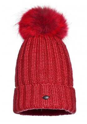 Women´s beanie Goldbergh UNA beanie real raccoon fur RUBY RED