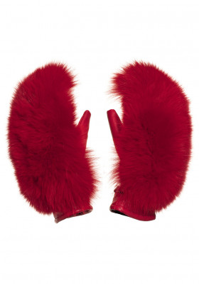 Women's gloves Goldbergh HANDO mittens real fox fur RUBY RED
