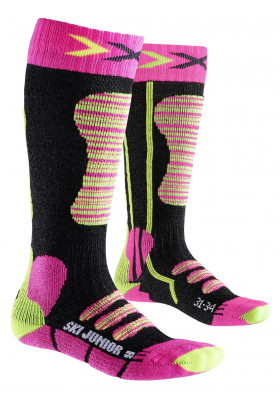 Kids socks X-SOCKS SKI JUNIOR Fuchsia/Yellow
