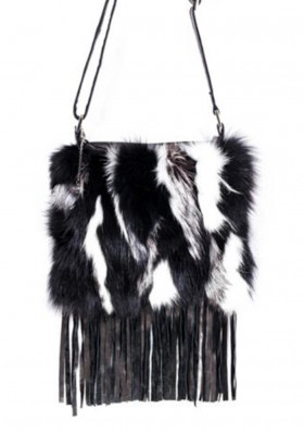Women's handbag GENA BAG SMALL FRINGE BLK/WHT
