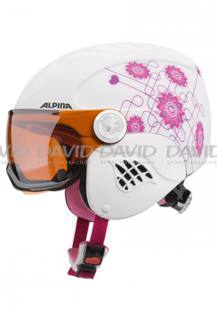 detail Alpina Carat Visor Whi / Pin ski helmet for children