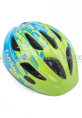 detail Children's helmet AUTHOR FLASH INMOLD GREEN/BLUE